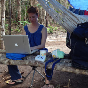 Lainy Day sets up an office in her camp at St. Cuthbert's, Guyana, on a